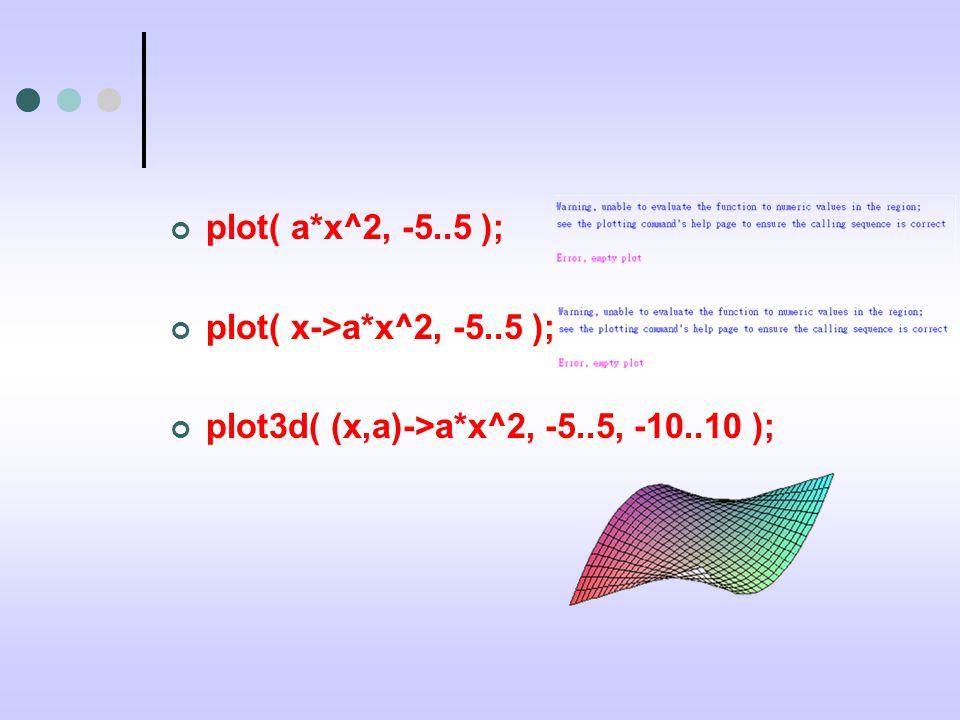 plot( a*x^2, -5..5 ); plot( x->a*x^2, -5..5 ); plot3d( (x,a)->a*x^2, -5..5, -10..10 );