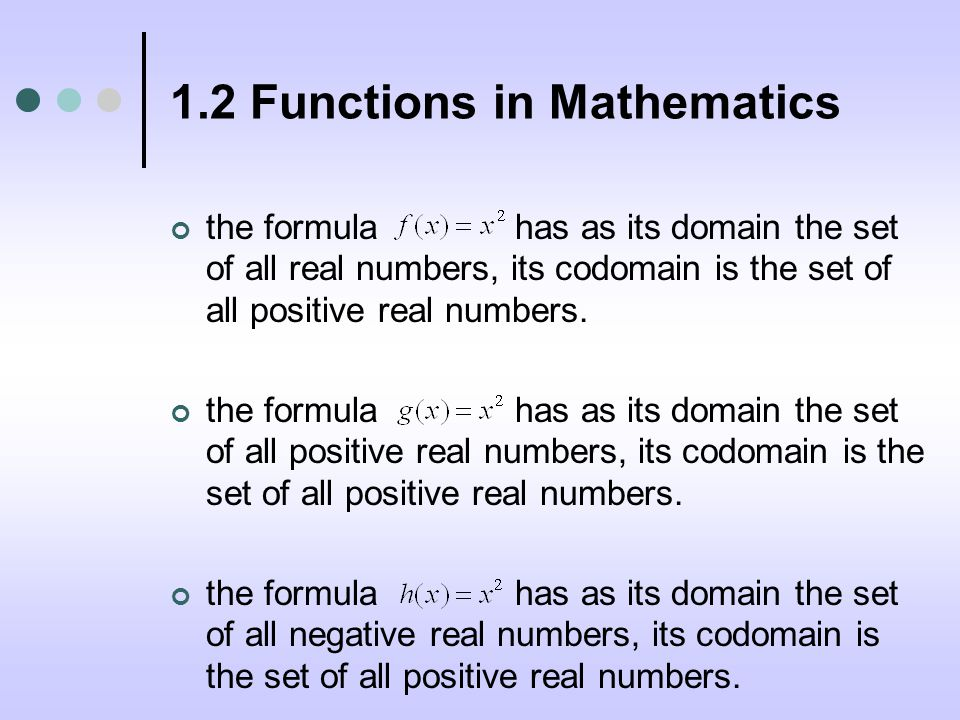 1.2 Functions in Mathematics the formula has as its domain the set of all real numbers, its codomain is the set of all positive real numbers.