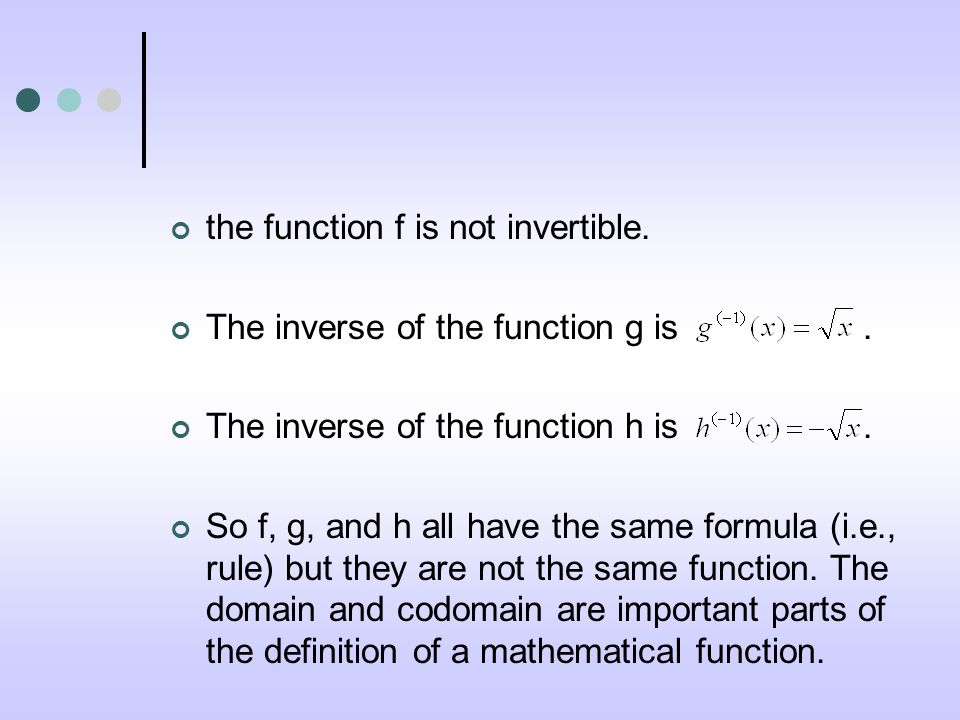 the function f is not invertible. The inverse of the function g is.
