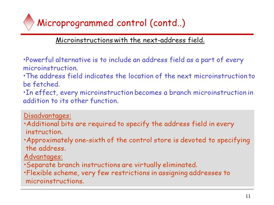 11 Microprogrammed control (contd..) Microinstructions with the next-address field.