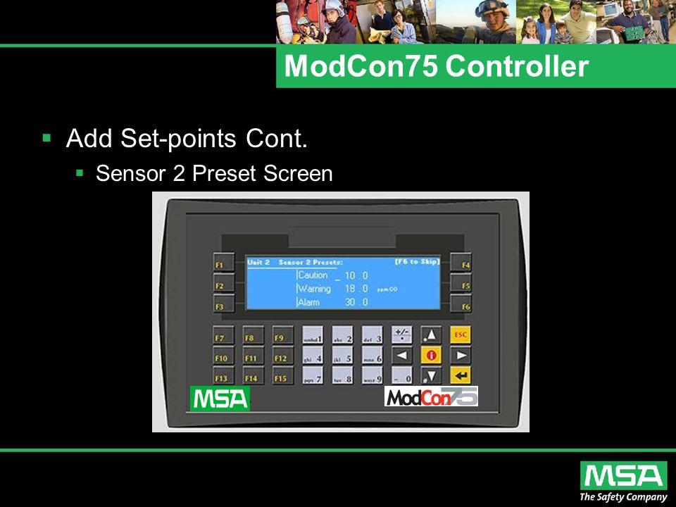 ModCon75 Controller  Add Set-points Cont.  Sensor 2 Preset Screen