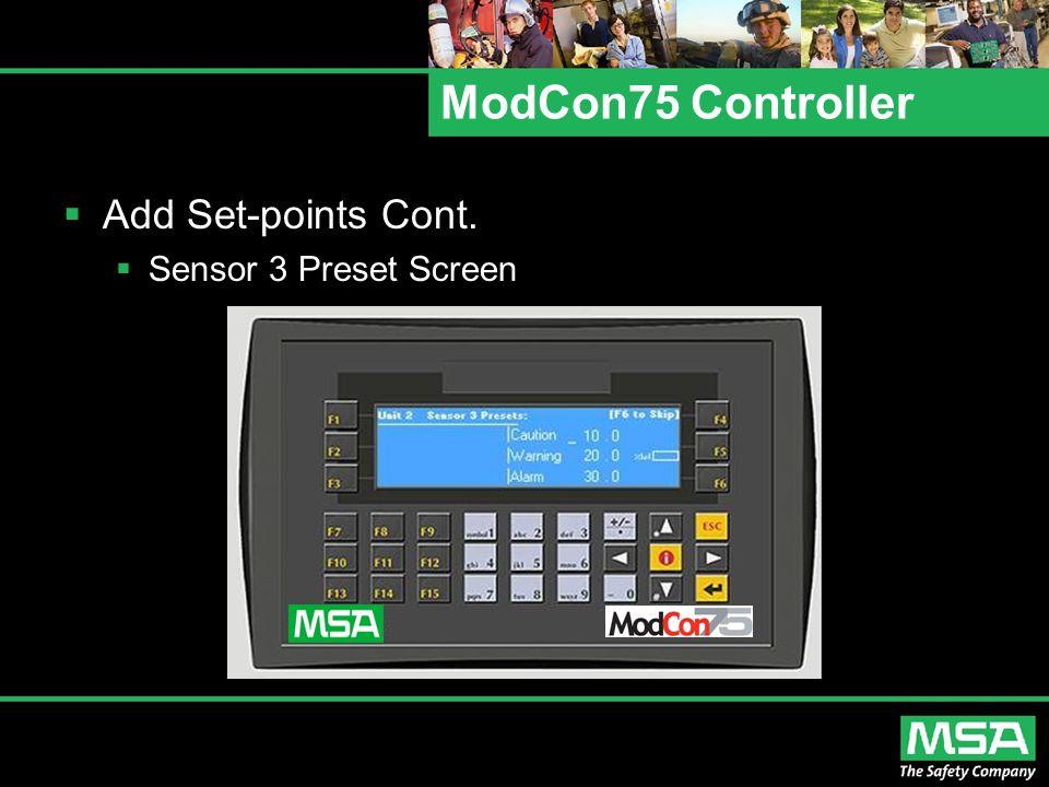 ModCon75 Controller  Add Set-points Cont.  Sensor 3 Preset Screen