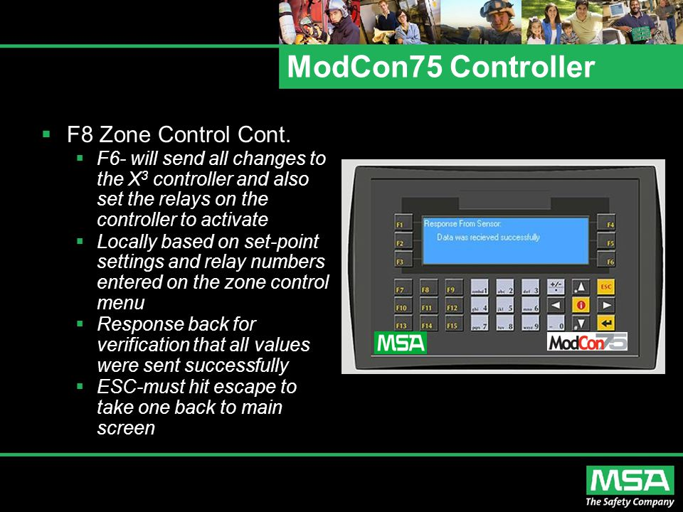 ModCon75 Controller  F8 Zone Control Cont.  F6- will send all changes to the X 3 controller and also set the relays on the controller to activate 