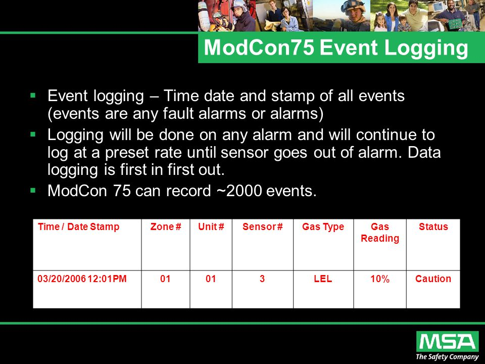 ModCon75 Event Logging  Event logging – Time date and stamp of all events (events are any fault alarms or alarms)  Logging will be done on any alarm