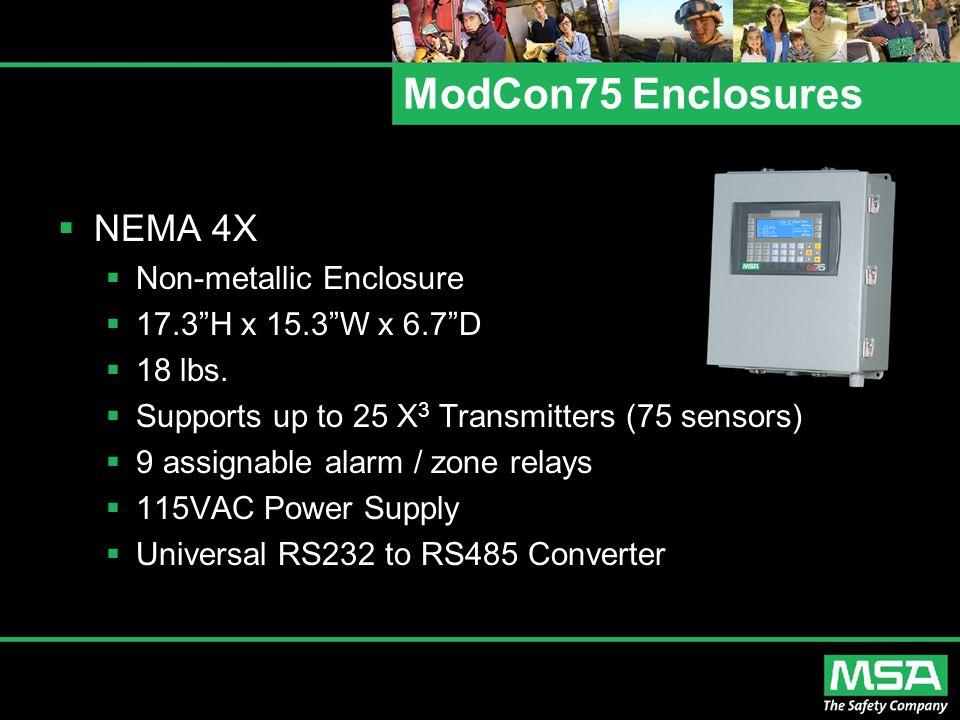 "ModCon75 Enclosures  NEMA 4X  Non-metallic Enclosure  17.3""H x 15.3""W x 6.7""D  18 lbs.  Supports up to 25 X 3 Transmitters (75 sensors)  9 assig"