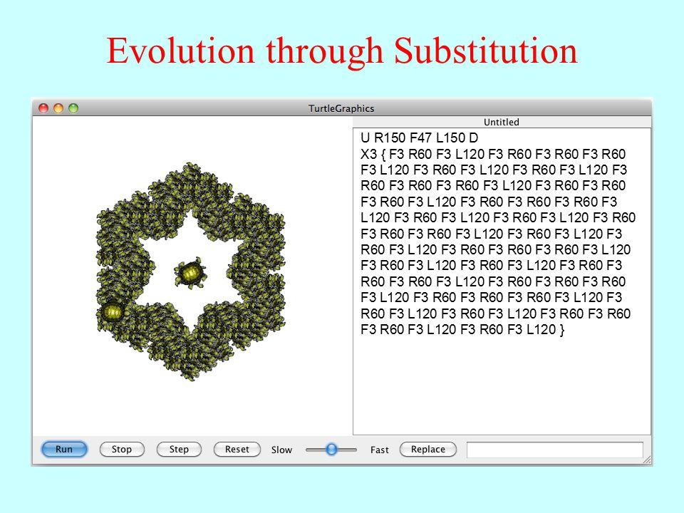 Evolution through Substitution U R150 F47 L150 D X3 { F3 R60 F3 L120 F3 R60 F3 R60 F3 R60 F3 L120 F3 R60 F3 L120 F3 R60 F3 L120 F3 R60 F3 R60 F3 R60 F3 L120 F3 R60 F3 R60 F3 R60 F3 L120 F3 R60 F3 R60 F3 R60 F3 L120 F3 R60 F3 L120 F3 R60 F3 L120 F3 R60 F3 R60 F3 R60 F3 L120 F3 R60 F3 L120 F3 R60 F3 L120 F3 R60 F3 R60 F3 R60 F3 L120 F3 R60 F3 L120 F3 R60 F3 L120 F3 R60 F3 R60 F3 R60 F3 L120 F3 R60 F3 R60 F3 R60 F3 L120 F3 R60 F3 R60 F3 R60 F3 L120 F3 R60 F3 L120 F3 R60 F3 L120 F3 R60 F3 R60 F3 R60 F3 L120 F3 R60 F3 L120 }