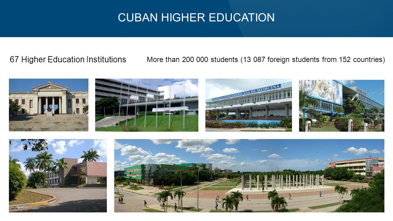 CUBAN HIGHER EDUCATION 67 Higher Education Institutions More than 200 000 students (13 087 foreign students from 152 countries)