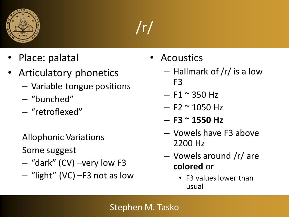 Liquids (/l/, /r/) lateral /l/ Rhotic /r/ Pickett (1999) considers these consonants glides as well Stephen M. Tasko