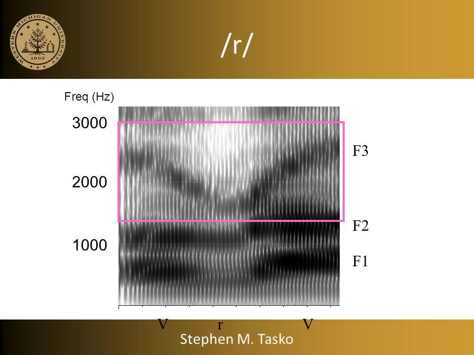 /r/ VrV F1 F2 F3 1000 2000 3000 Freq (Hz) Stephen M. Tasko