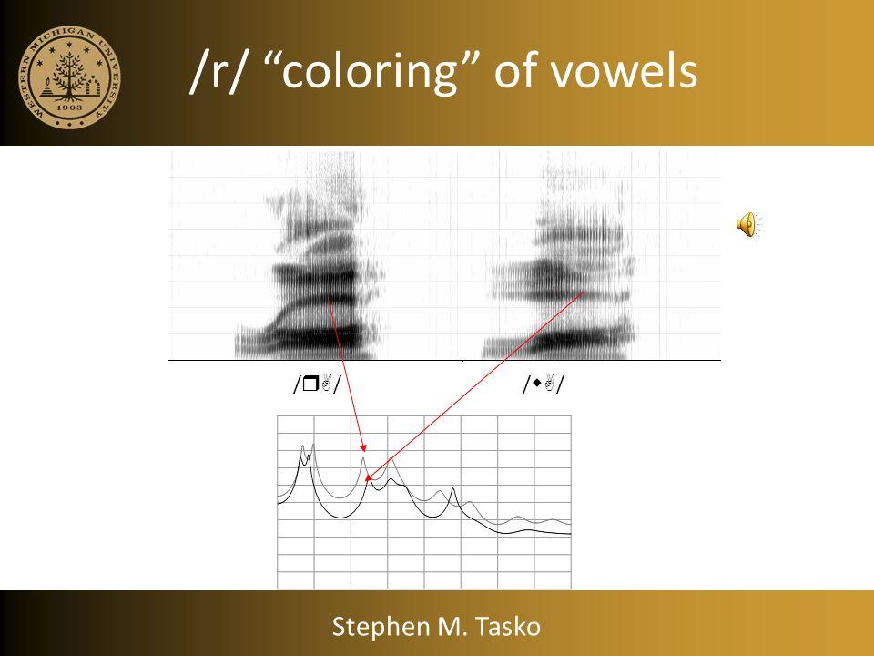 /r/ coloring of vowels /  / /  / Stephen M. Tasko