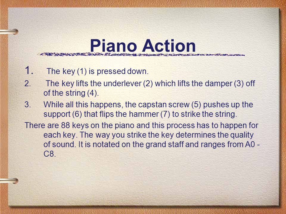 Piano Action 1. The key (1) is pressed down. 2. The key lifts the underlever (2) which lifts the damper (3) off of the string (4). 3.While all this ha