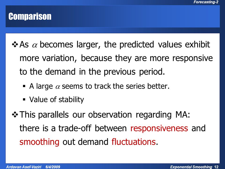 Exponential Smoothing 12 Ardavan Asef-Vaziri 6/4/2009 Forecasting-2 Comparison  As  becomes larger, the predicted values exhibit more variation, bec