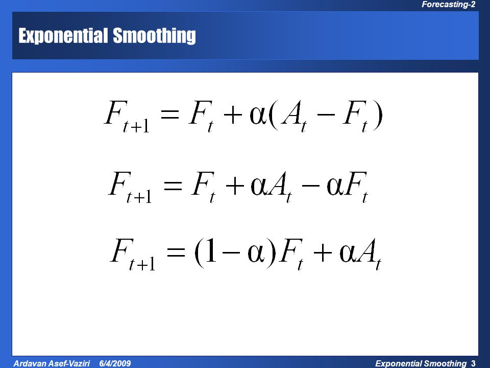 Exponential Smoothing 14 Ardavan Asef-Vaziri 6/4/2009 Forecasting-2 Which  to choose.