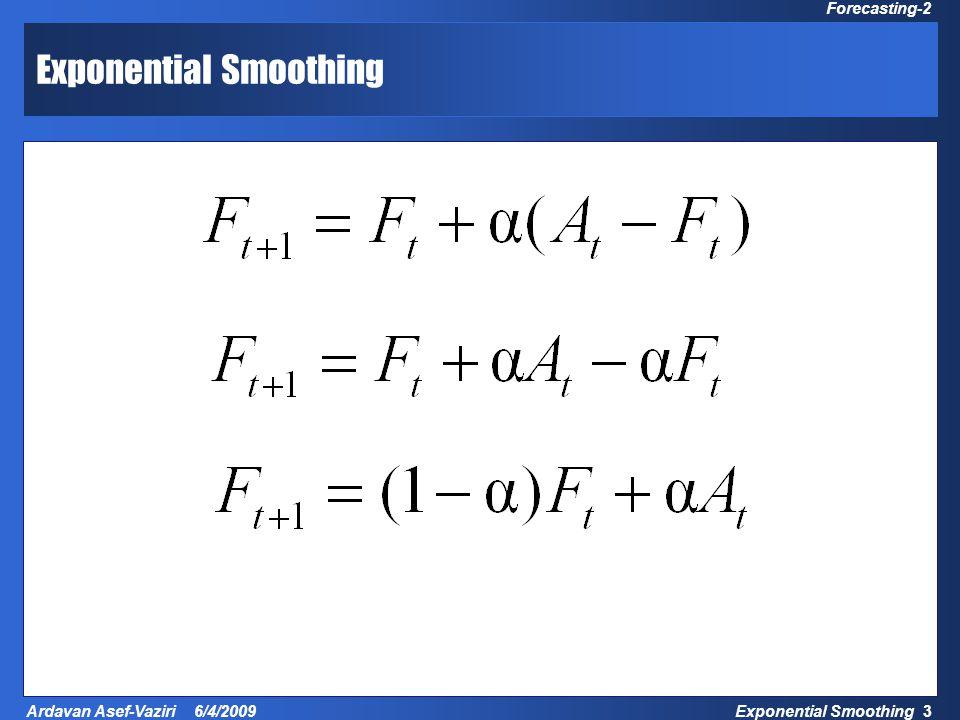 Exponential Smoothing 24 Ardavan Asef-Vaziri 6/4/2009 Forecasting-2 Optimal  Minimal MAD