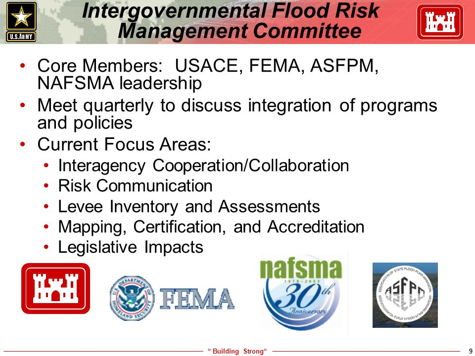""" Building Strong""9 Core Members: USACE, FEMA, ASFPM, NAFSMA leadership Meet quarterly to discuss integration of programs and policies Current Focus A"
