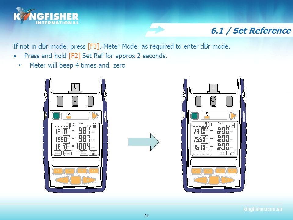 6.1 / Set Reference If not in dBr mode, press [F3], Meter Mode as required to enter dBr mode.