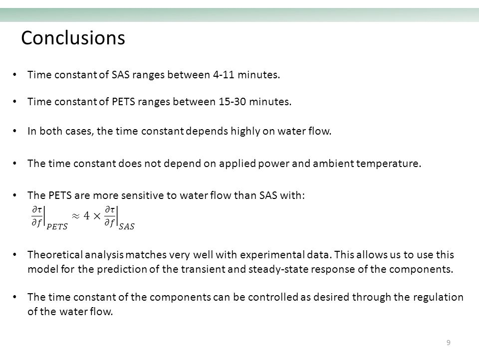 Conclusions 9 Time constant of SAS ranges between 4-11 minutes.