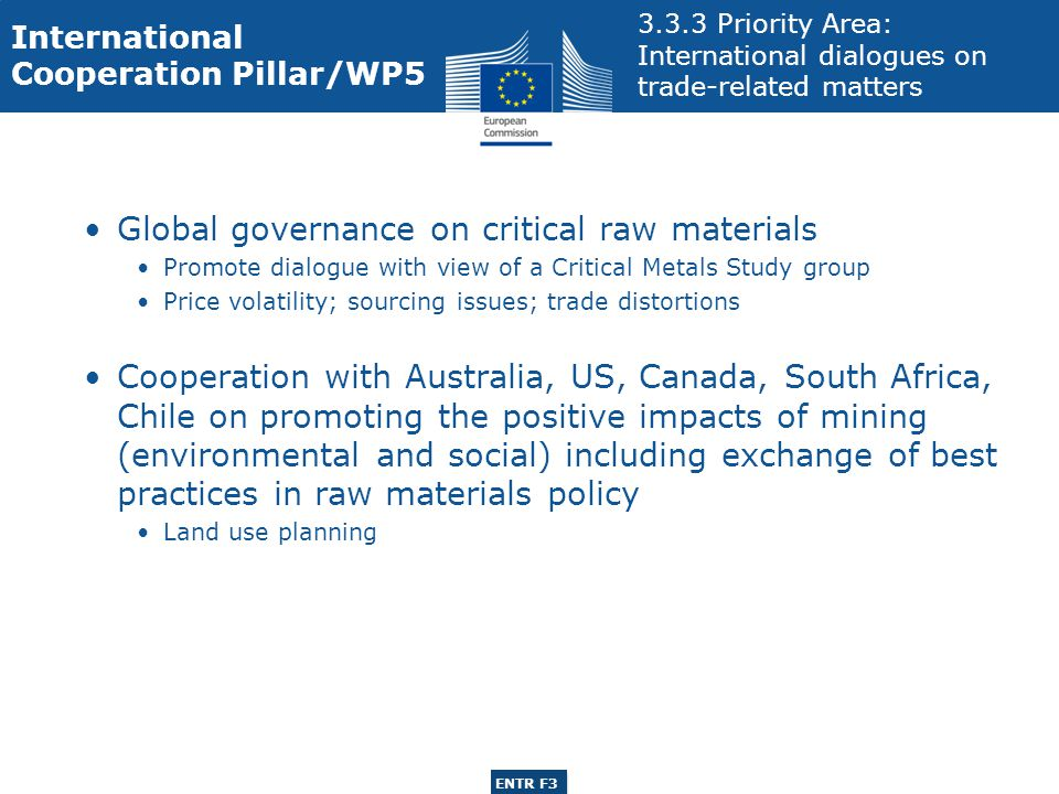 ENTR G3 ENTR F3 Global governance on critical raw materials Promote dialogue with view of a Critical Metals Study group Price volatility; sourcing issues; trade distortions Cooperation with Australia, US, Canada, South Africa, Chile on promoting the positive impacts of mining (environmental and social) including exchange of best practices in raw materials policy Land use planning International Cooperation Pillar/WP Priority Area: International dialogues on trade-related matters