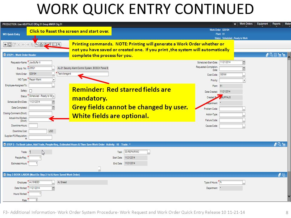 INfOR Labeling In Process F3- Additional Information- Work Order System Procedure- Work Request and Work Order Quick Entry Release 10 11-21-14 9