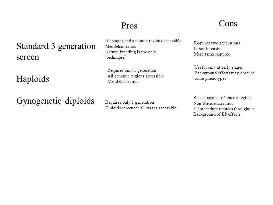 Zebrafish Zygotic Mutant Screen--Natural Crosses G0 F1 F2 F3 Screen F3 embryos morphologically at 1 dpf, 2 dpf, 5 dpf.