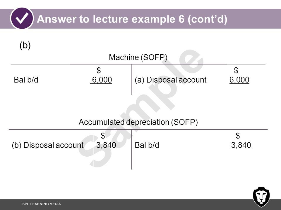 BPP LEARNING MEDIA Sample Answer to lecture example 6 (cont'd) Disposal account (SPL) (a) Machine Balance = profit on disposal (SPL) $ 6,000 840 6,840 (c) Cash (b) Accumulated dep'n $ 3,000 3,840 6,840