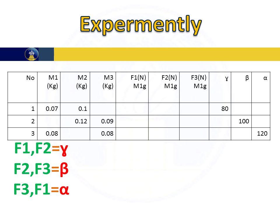 αβɣF3(N) M1g F2(N) M1g F1(N) M1g M3 (Kg) M2 (Kg) M1 (Kg) No 800.10.071 1000.090.122 1200.08 3 F1,F2=ɣ F2,F3=β F3,F1=α