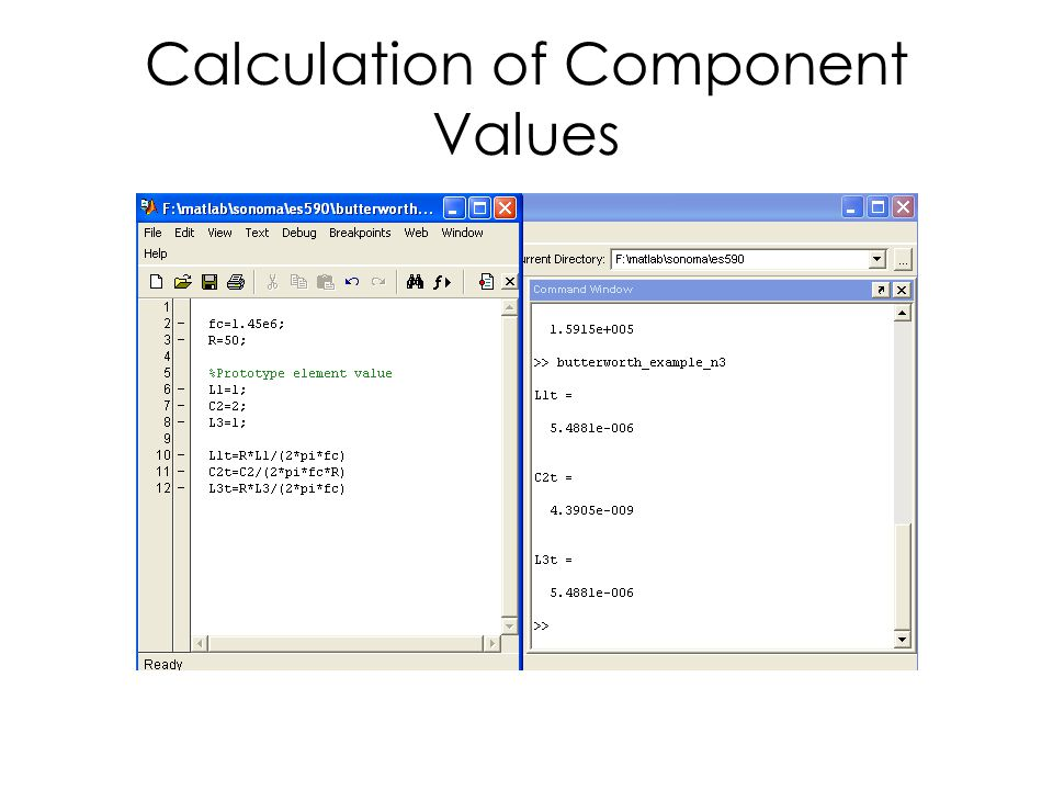 Calculation of Component Values