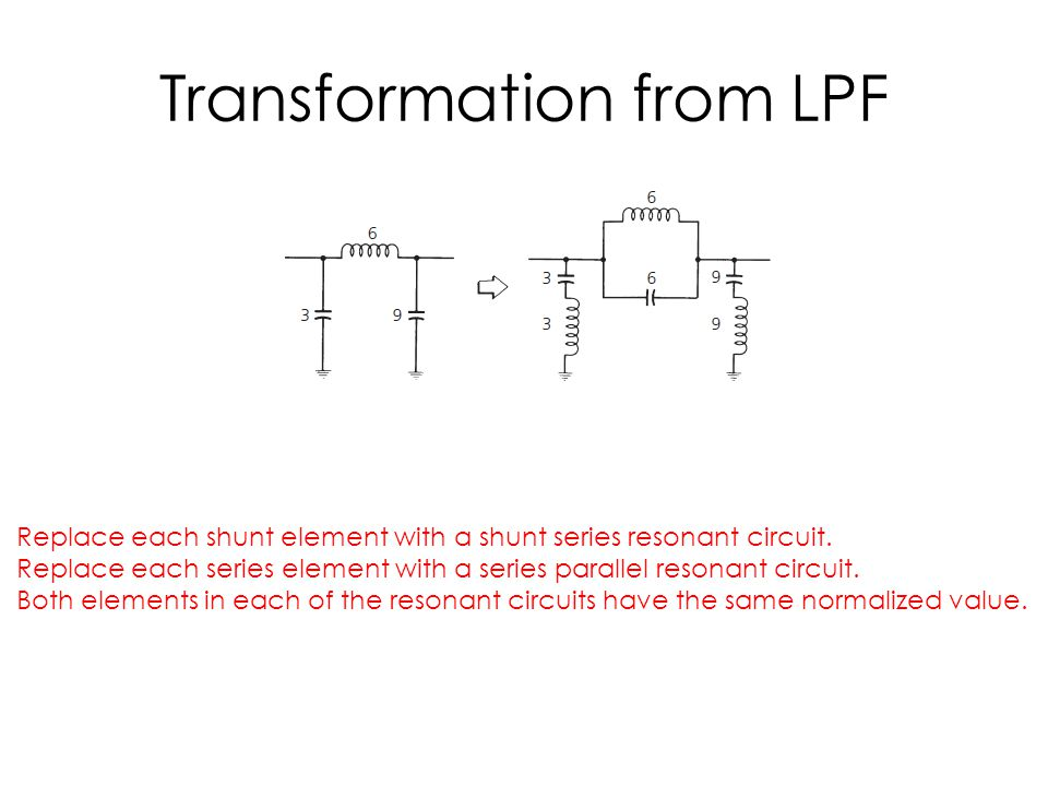 Transformation from LPF Replace each shunt element with a shunt series resonant circuit.
