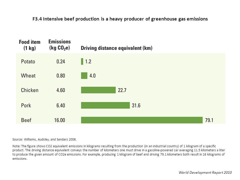 F3.4 Intensive beef production is a heavy producer of greenhouse gas emissions World Development Report 2010 Source: Williams, Audsley, and Sandars 20