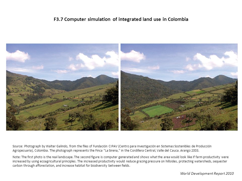 F3.7 Computer simulation of integrated land use in Colombia World Development Report 2010 Source: Photograph by Walter Galindo, from the files of Fund