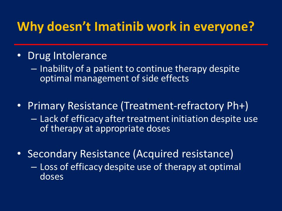 Why doesn't Imatinib work in everyone.