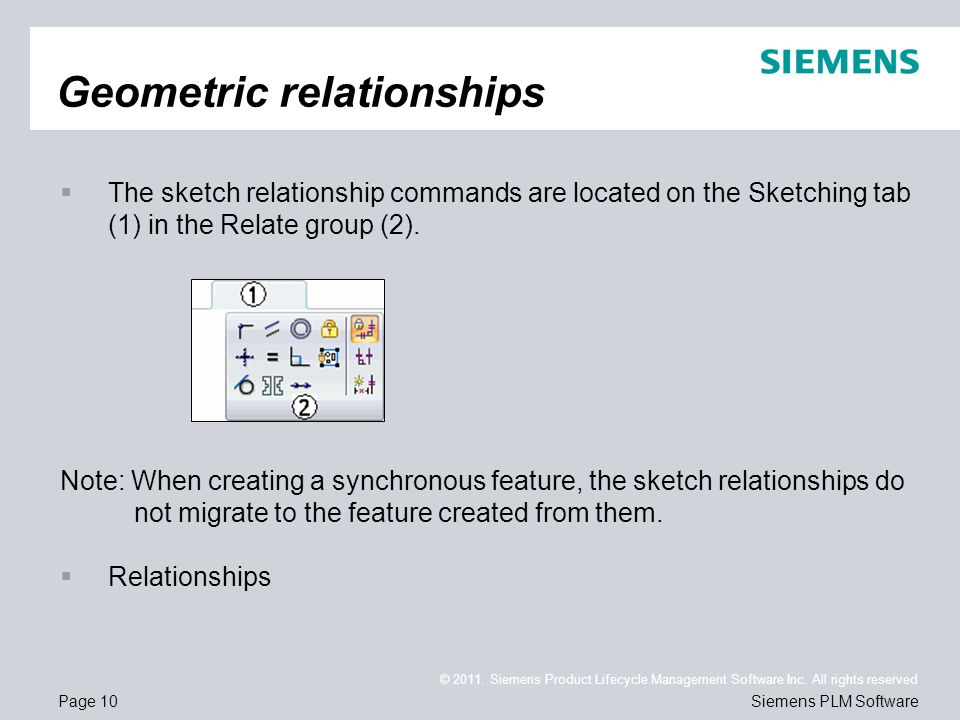 Page 10 © 2011. Siemens Product Lifecycle Management Software Inc. All rights reserved Siemens PLM Software Geometric relationships  The sketch relat