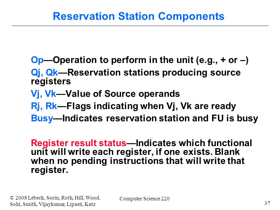 37 © 2008 Lebeck, Sorin, Roth, Hill, Wood, Sohi, Smith, Vijaykumar, Lipasti, Katz Computer Science 220 Op—Operation to perform in the unit (e.g., + or –) Qj, Qk—Reservation stations producing source registers Vj, Vk—Value of Source operands Rj, Rk—Flags indicating when Vj, Vk are ready Busy—Indicates reservation station and FU is busy Register result status—Indicates which functional unit will write each register, if one exists.