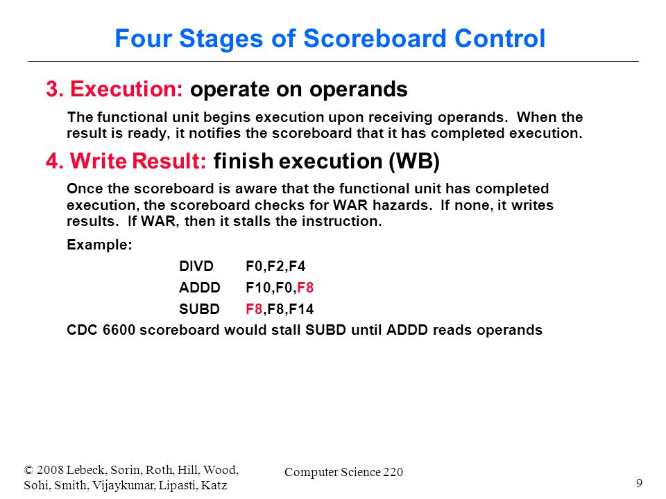 9 © 2008 Lebeck, Sorin, Roth, Hill, Wood, Sohi, Smith, Vijaykumar, Lipasti, Katz Computer Science 220 Four Stages of Scoreboard Control 3.