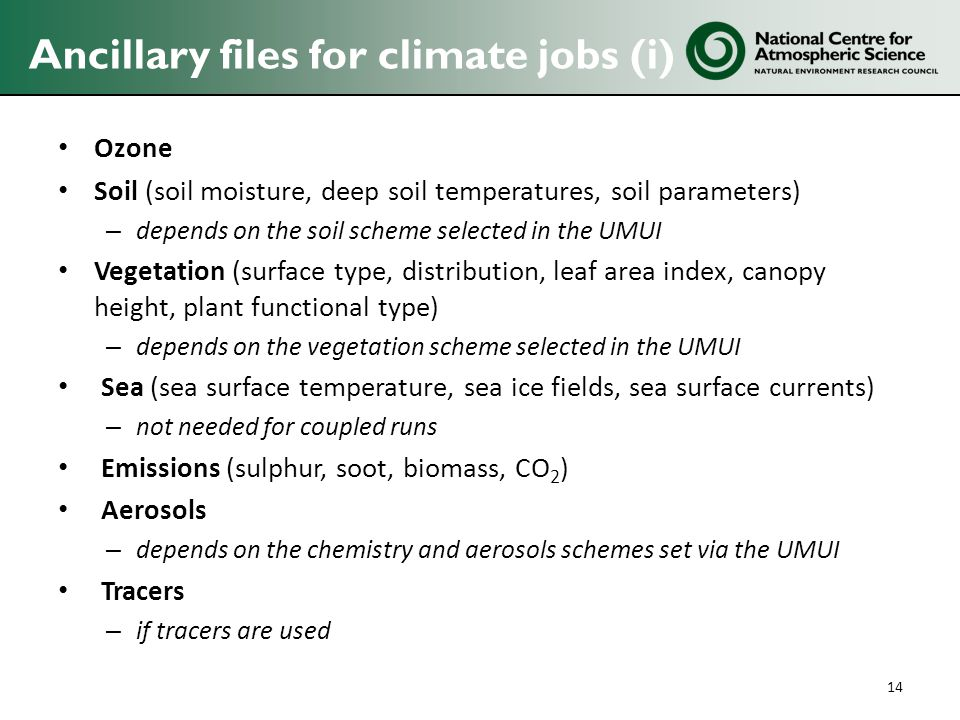 Ancillary files for climate jobs (i) Ozone Soil (soil moisture, deep soil temperatures, soil parameters) – depends on the soil scheme selected in the UMUI Vegetation (surface type, distribution, leaf area index, canopy height, plant functional type) – depends on the vegetation scheme selected in the UMUI Sea (sea surface temperature, sea ice fields, sea surface currents) – not needed for coupled runs Emissions (sulphur, soot, biomass, CO 2 ) Aerosols – depends on the chemistry and aerosols schemes set via the UMUI Tracers – if tracers are used 14