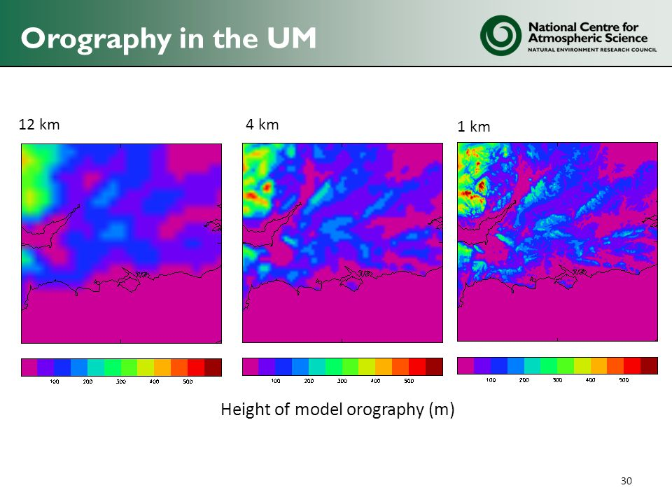 Orography in the UM 30 12 km4 km 1 km Height of model orography (m)