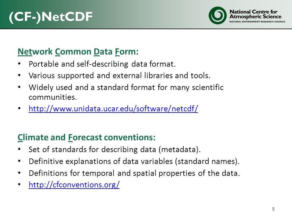 (CF-)NetCDF Network Common Data Form: Portable and self-describing data format.
