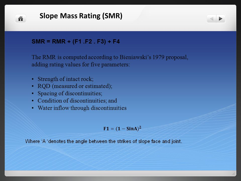 F3 reflects the relationship between the slope face and the joint dip.