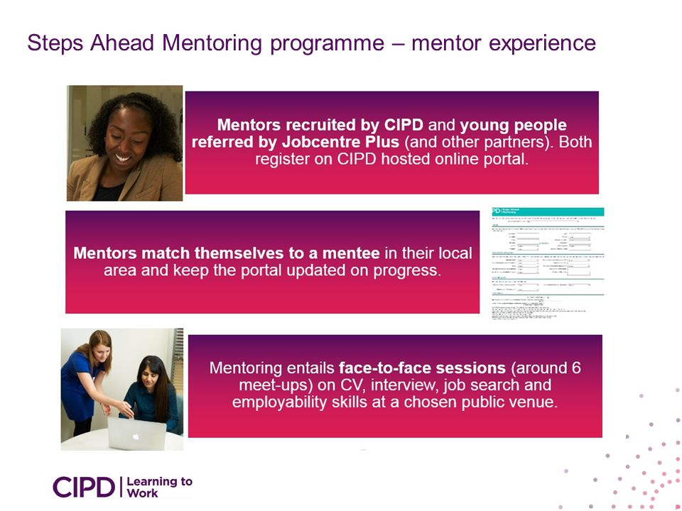 increase and improve their engagement with young people Help prepare Make more youth friendly Steps Ahead Mentoring programme – mentor experience