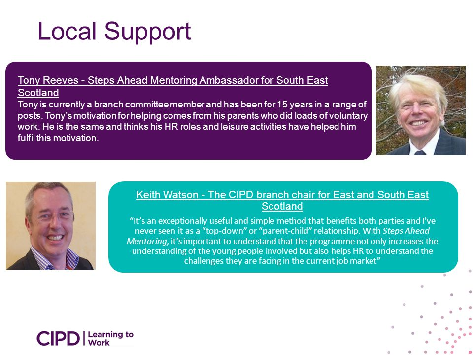 Local Support Keith Watson - The CIPD branch chair for East and South East Scotland It's an exceptionally useful and simple method that benefits both parties and I ve never seen it as a top-down or parent-child relationship.