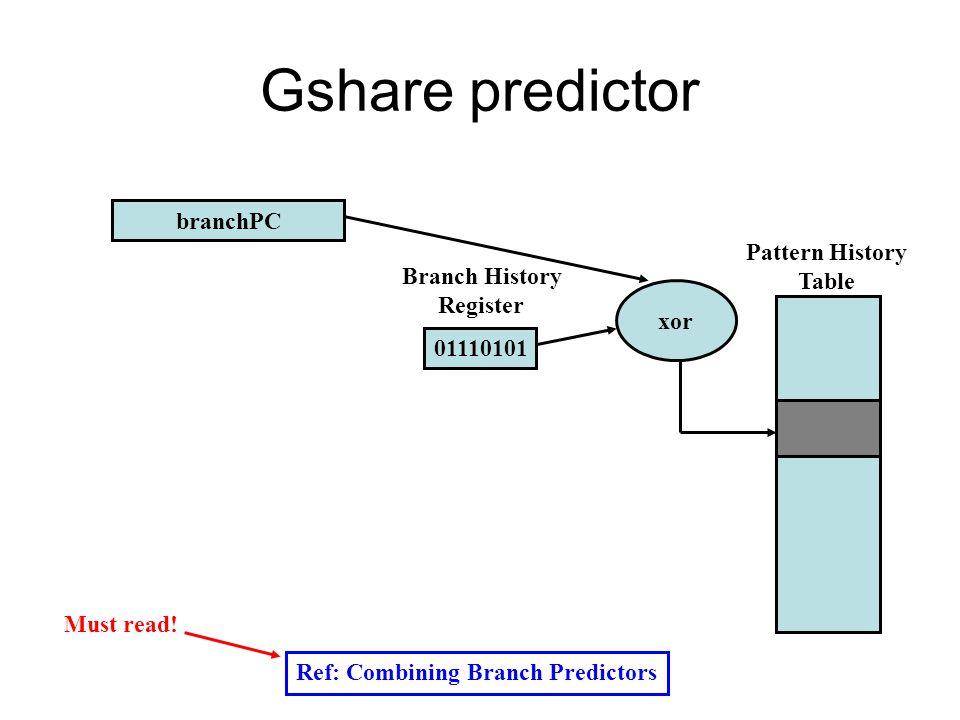 Gshare predictor Ref: Combining Branch Predictors branchPC 01110101 Pattern History Table Branch History Register xor Must read!