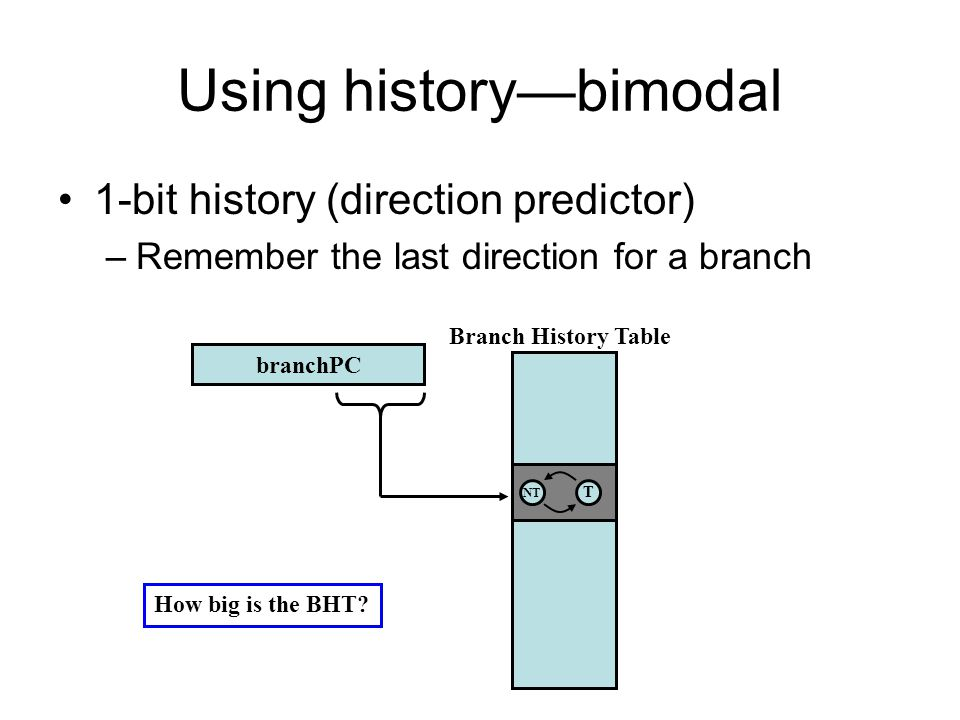 Using history—bimodal 1-bit history (direction predictor) –Remember the last direction for a branch branchPC NT T Branch History Table How big is the BHT