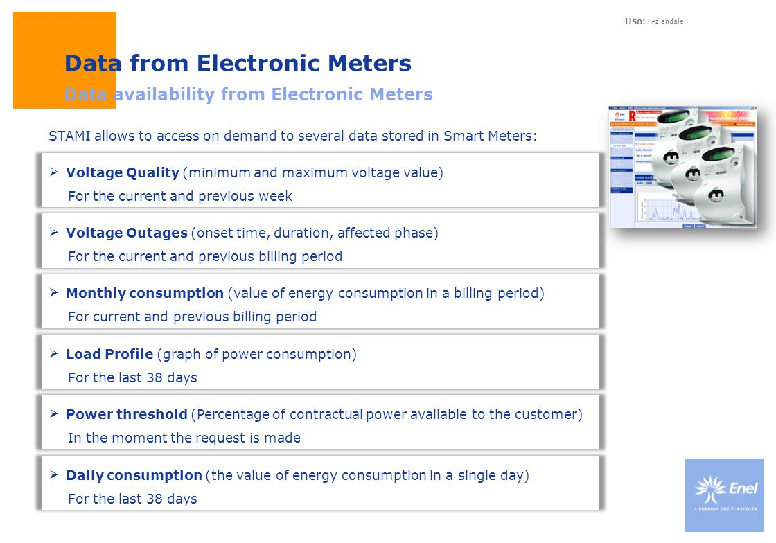 Uso: Aziendale Data from Electronic Meters Data availability from Electronic Meters  Voltage Quality (minimum and maximum voltage value) For the curr