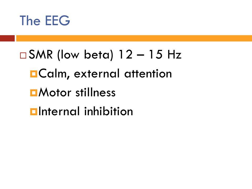 The EEG  SMR (low beta) 12 – 15 Hz  Calm, external attention  Motor stillness  Internal inhibition