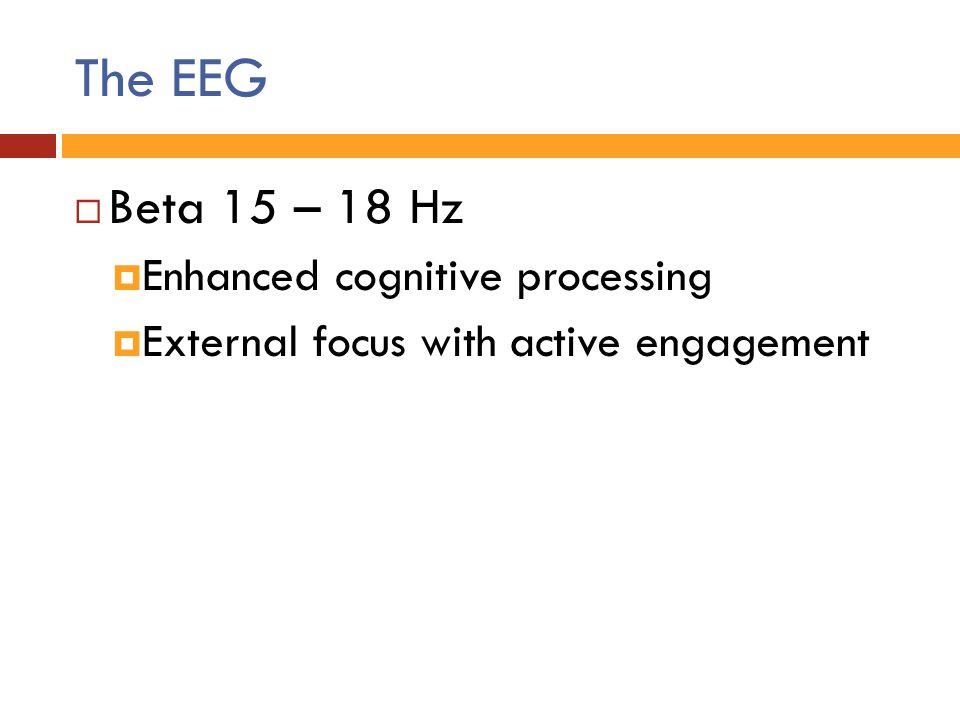The EEG  Beta 15 – 18 Hz  Enhanced cognitive processing  External focus with active engagement