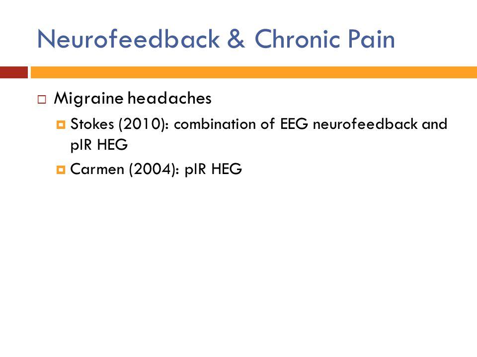 Neurofeedback & Chronic Pain  Migraine headaches  Stokes (2010): combination of EEG neurofeedback and pIR HEG  Carmen (2004): pIR HEG