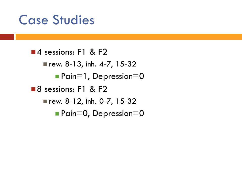Case Studies 4 sessions: F1 & F2 rew. 8-13, inh. 4-7, 15-32 Pain=1, Depression=0 8 sessions: F1 & F2 rew. 8-12, inh. 0-7, 15-32 Pain=0, Depression=0