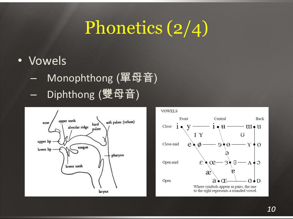 Phonetics (2/4) Vowels – Monophthong ( 單母音 ) – Diphthong ( 雙母音 ) 10