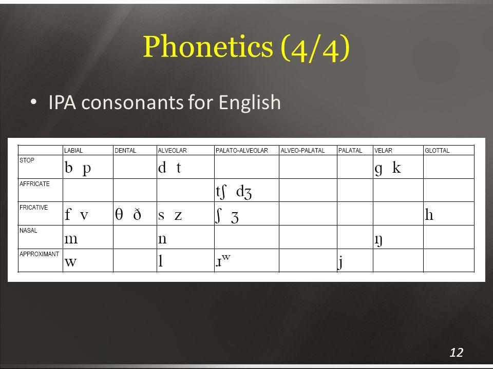 Phonetics (4/4) IPA consonants for English 12