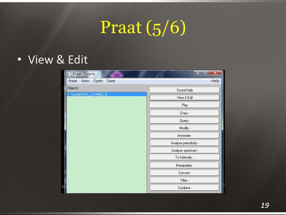 Praat (5/6) View & Edit 19